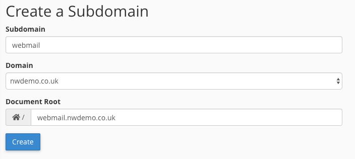 Webmail Subdomain