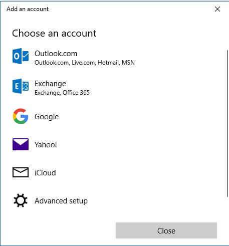 Choose and account - Advanced setup
