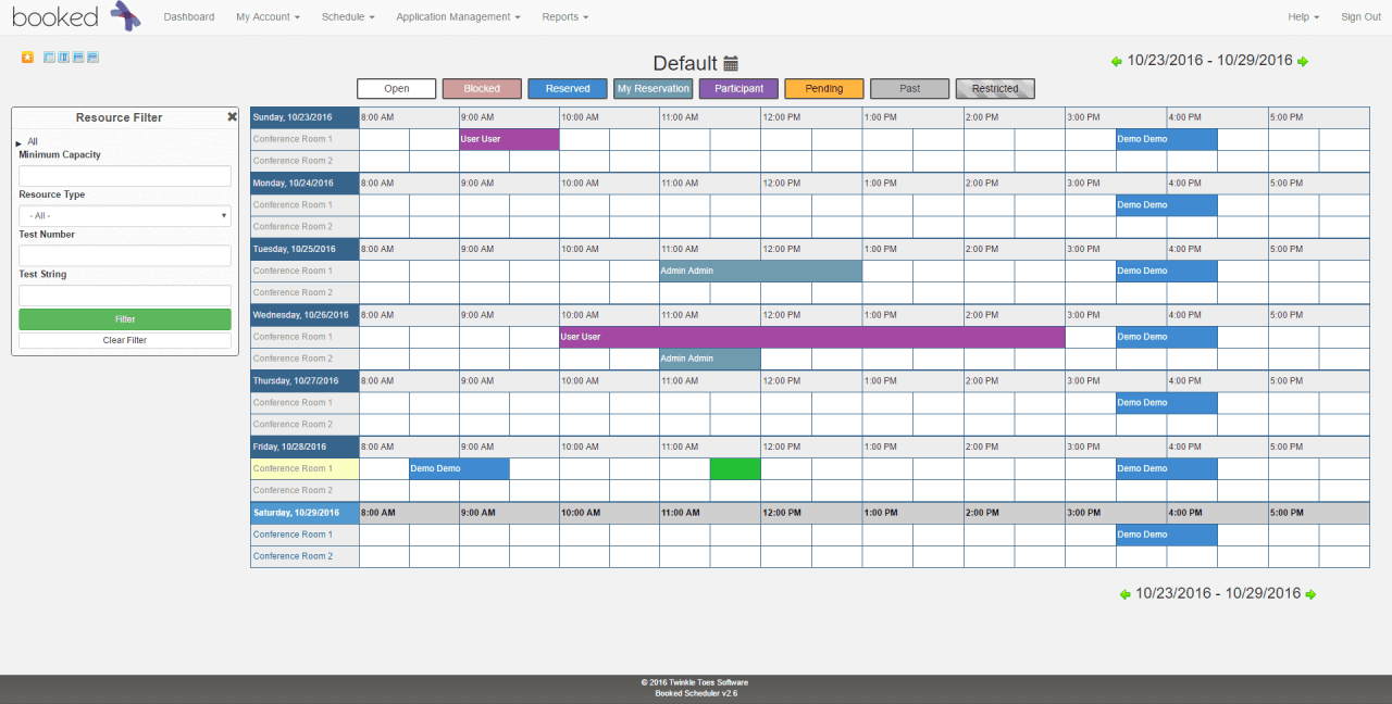 booked schedule example