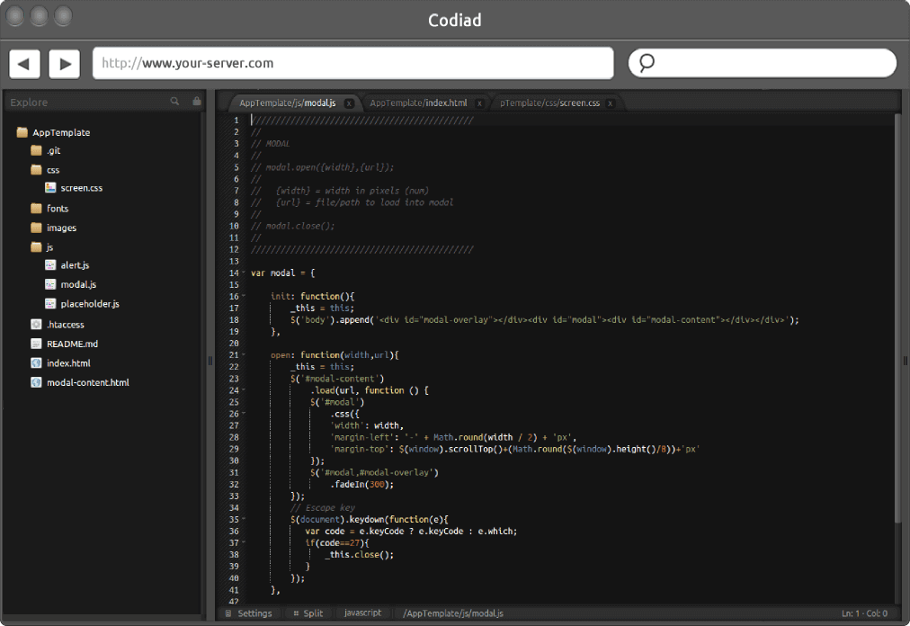 Codiad interface