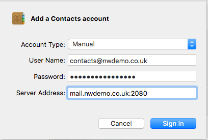 Add a Contacts Account