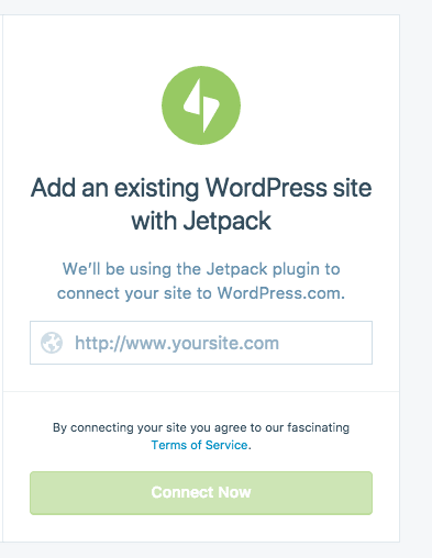 Add an existing WordPress site with Jetpack