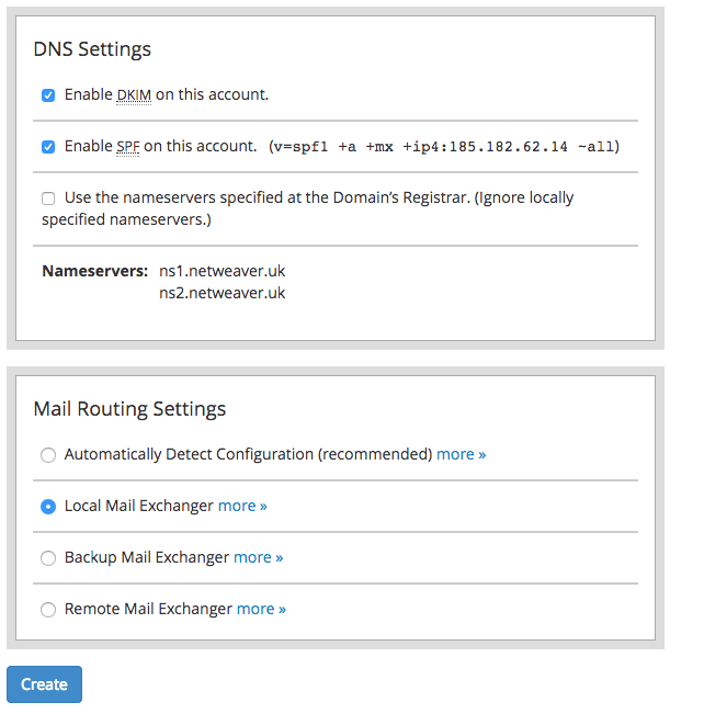 Select the required DNS and Mail Routing Settings