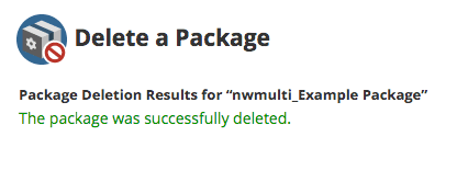 Successful package deletion message