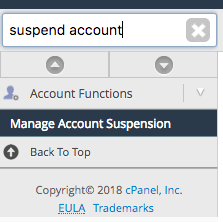 Type 'suspend account' and select 'Manage Account Suspension'