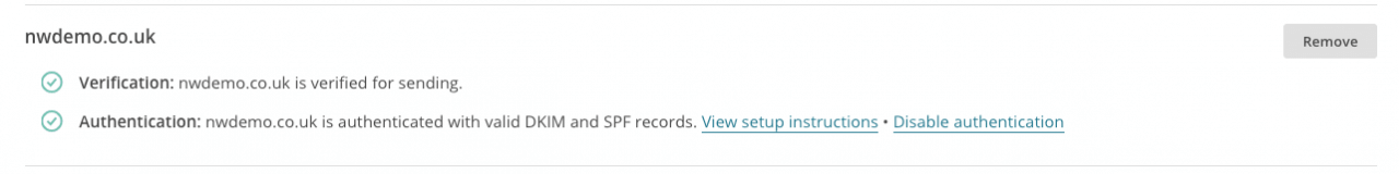 Your domain should now appear authenticated with 'valid DKIM and SPF records' with a green tick over to the left