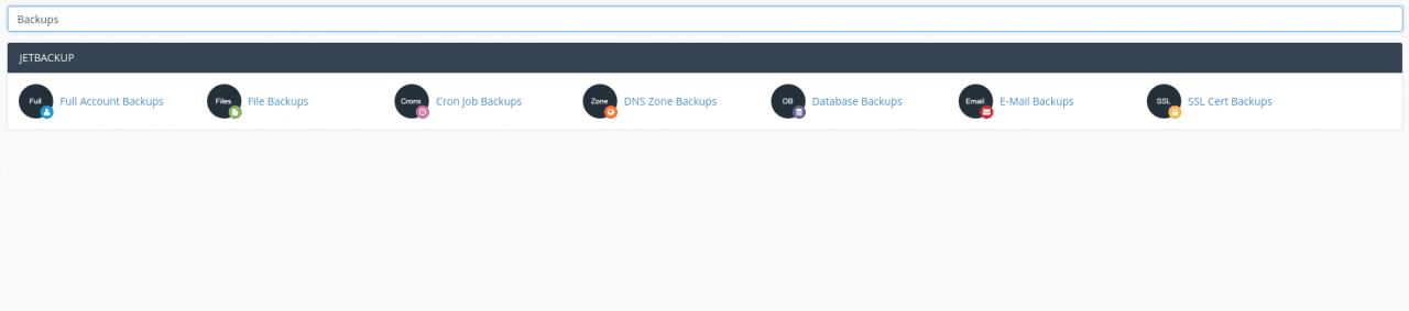 cPanel search for Backup