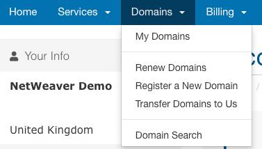 domain menu
