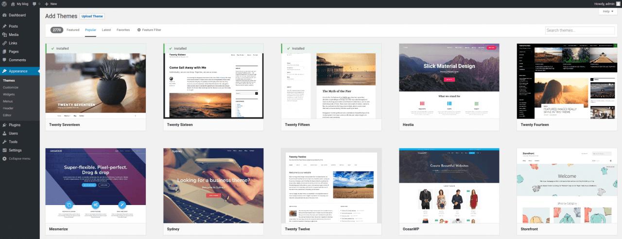 WordPress - Appearance