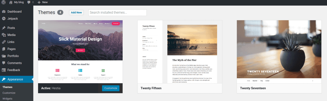 WordPress - Appearance Themes