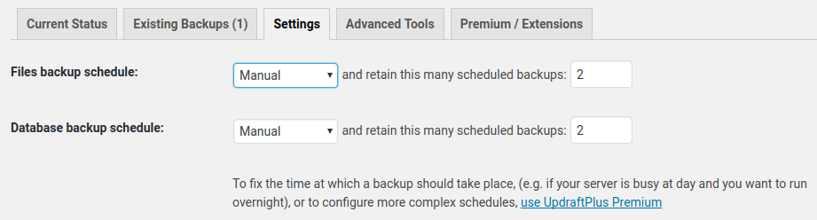 Schedule Backups in Settings
