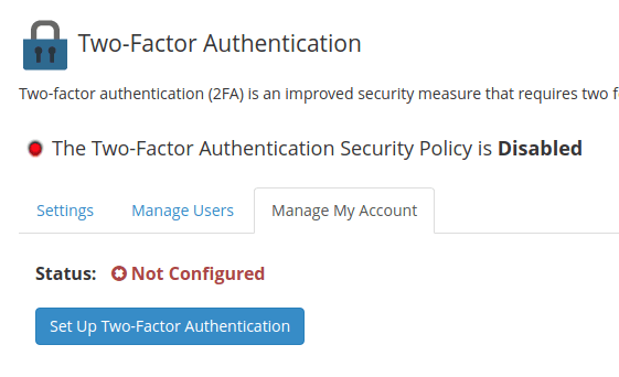 Select 'Manage My Account' and then select 'Set Up Two-Factor Authentication'