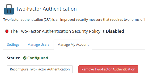 To remove - click 'Remove Two-Factor Authentication'
