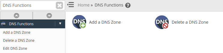 """From the options select """"Delete a DNS Zone"""""""