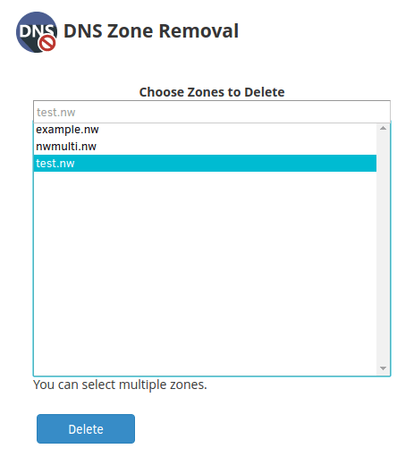 From the list of zones, choose the one in which you wish to delete
