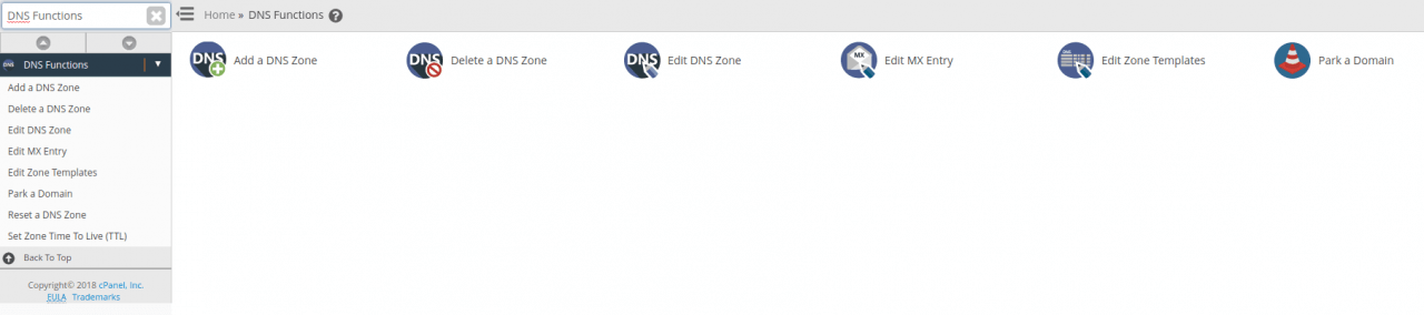 From DNS Functions select Park a Domain