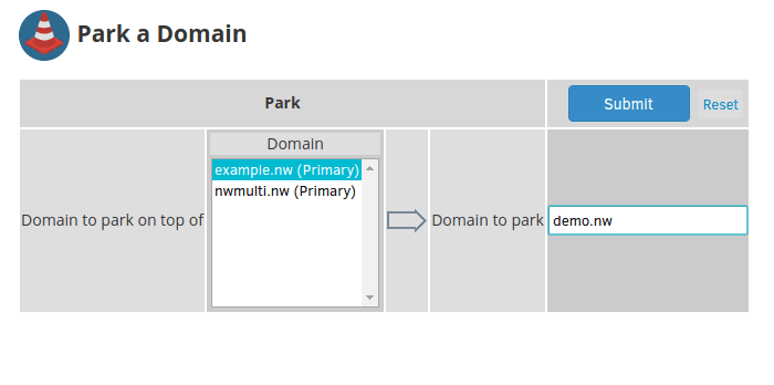 "Select the ""Domain to park on top of"" and the ""Domain to park"""