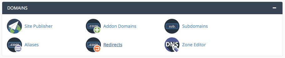 cPanel domains menu